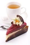 Cheesecake с вареньем поленики и чаем жасмина Стоковое Изображение