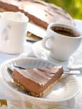Cheesecake. Chocolate cheesecake with coffee. Selective focus stock photography