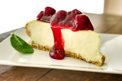 Cheesecake κερασιών το απόγευμα Στοκ εικόνες με δικαίωμα ελεύθερης χρήσης