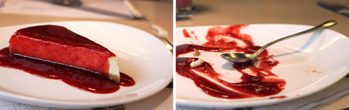 Cheesecake Before and After. Before and after collage - slice of a cheesecake covered in strawberry jam and an empty plate after eating the cheesecake Royalty Free Stock Photo