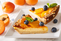 Cheesecake with apricots, blueberries, mint and nuts close-up. h Royalty Free Stock Image