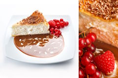 Cheesecake with Berries. Slice of cheesecake with raspberries, currants, chocolate sauce and shavings on a white plate stock photos