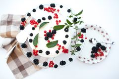 Cheesecake with berries and mint Stock Photo