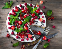 Cheesecake with berries Stock Images