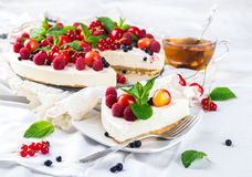 Cheesecake with berries Stock Photo