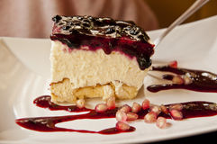 Cheesecake with berry topping Stock Images