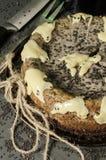 Cheesecake with black sesame seeds on Halloween Stock Photo