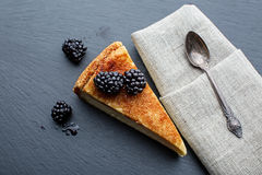 Cheesecake with blackberries Stock Images