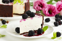 Cheesecake  with BlackBerry. Royalty Free Stock Photo