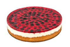 Cheesecake with blackberry, blueberry and red currants. Cheesecake with blackberry, blueberry and red currants  isolated on the white background Stock Photo