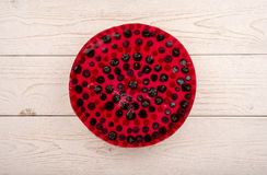 Cheesecake with blackberry, blueberry and red currants  on the wooden background. Cheesecake with blackberry, blueberry and red currants  on the white wooden Stock Image