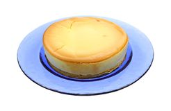 Cheesecake on Blue Plate Royalty Free Stock Photography