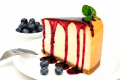 Cheesecake And Blueberries Royalty Free Stock Photos