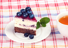 Cheesecake with blueberries Royalty Free Stock Photo