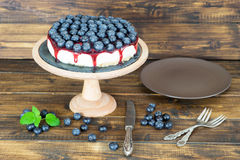Cheesecake with blueberry and jam Royalty Free Stock Photography