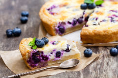 Cheesecake  with blueberry  and mint. Summer dessert Royalty Free Stock Image