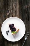 Cheesecake with blueberry sauce top view Royalty Free Stock Photography