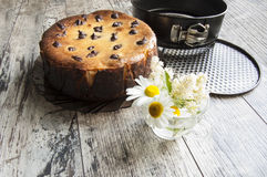 Cheesecake with a bouquet of daisies and a form fo Royalty Free Stock Image