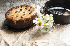 Cheesecake  with a bouquet of daisies. Horizontal  Stock Photos