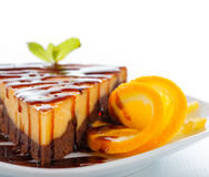 Cheesecake Brownie. Special dessert named cheesecake brownie, a composite of these two cakes Stock Photos