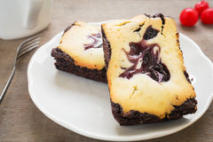 Cheesecake brownies with coffee cup Royalty Free Stock Photography