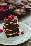Cheesecake brownies with raspberry Stock Image