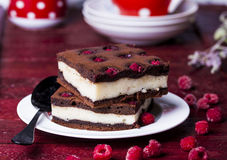 Cheesecake brownies with raspberry Royalty Free Stock Photo