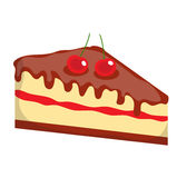 Cheesecake, cake icon, flat, cartoon style.Isolated on white background. Vector illustration, clip-art. Cheesecake, cake icon, flat, cartoon style.Isolated on Royalty Free Stock Images