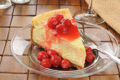 Cheesecake with cherries Stock Images