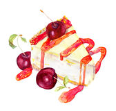 Cheesecake with cherry and jam. Watercolor. Cheesecake, cheese cake, with cherry and cherry jam. Watercolor Stock Images
