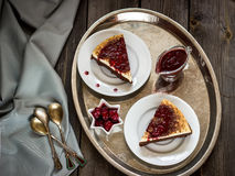 Cheesecake with cherry sauce Royalty Free Stock Image