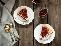 Cheesecake with cherry sauce in vintage style Stock Photography