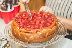 Cheesecake with cherry topping Royalty Free Stock Photo
