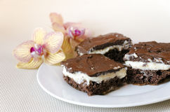 Cheesecake with chocolate Stock Photo