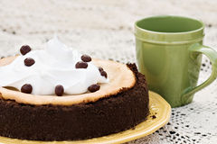 Cheesecake With Chocolate Covered Coffee Bean Stock Photography