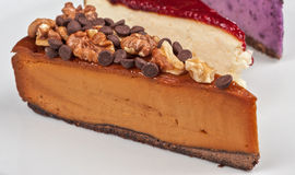 Cheesecake with chocolate and nuts Stock Photography