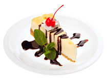 Cheesecake with Chocolate Sauce Royalty Free Stock Photography
