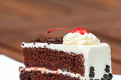Cheesecake with Chocolate Sauce and Cherries Stock Photos
