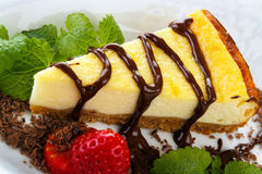 Cheesecake with chocolate Royalty Free Stock Photos