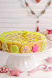 Cheesecake for christmas with colorful jelly Royalty Free Stock Photo