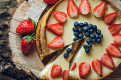 Cheesecake. Classic cheesecake with strawberry on top stock photography