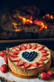 Cheesecake. Classic cheesecake with strawberry on top Royalty Free Stock Photography