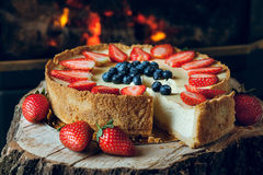 Cheesecake. Classic cheesecake with strawberry on top Stock Photo