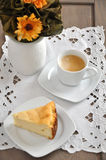 Cheesecake with a cup of Coffee Stock Image
