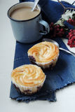 Cheesecake cupcakes and cocoa Royalty Free Stock Photo
