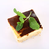 Cheesecake decorated with mint Stock Photography