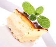 Cheesecake decorated with mint Royalty Free Stock Image