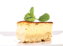 Cheesecake decorated with mint Royalty Free Stock Photography