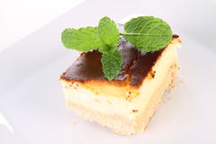 Cheesecake decorated with mint Royalty Free Stock Photo