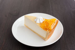 Cheesecake Dessert decorated with oranges and meringue Royalty Free Stock Photography